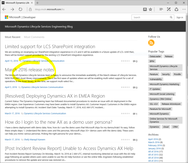 Check out the Microsoft Dynamics Lifecycle Services Engineering Blog
