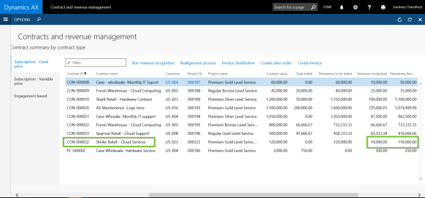 Revenue Recognition Data for Dynamics AX with Axio