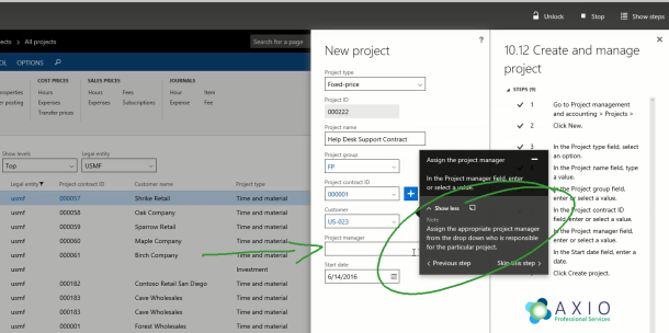 AXIO Professional Services Guided Tasks in Dynamics AX