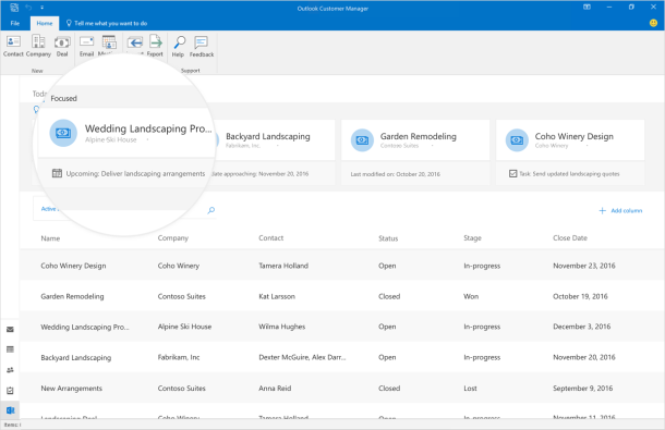 Outlook Customer Manager prioritizes contacts, opportunities and customers in custom view
