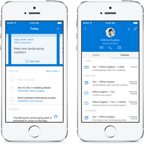 iOS app for Microsoft Outlook Customer Manager