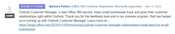 Outlook Customer Manager Forum Post by Microsoft