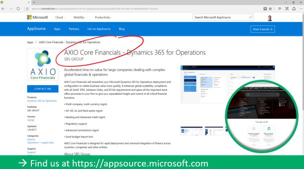 AXIO Core Financials on Microsoft AppSource